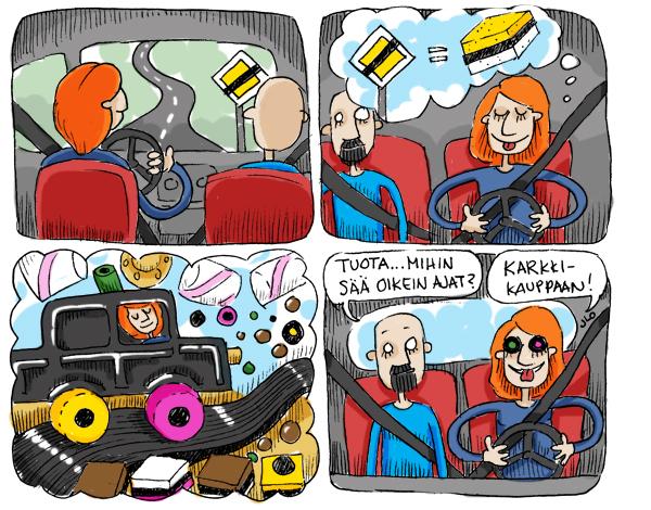 Nainen liikenteessä