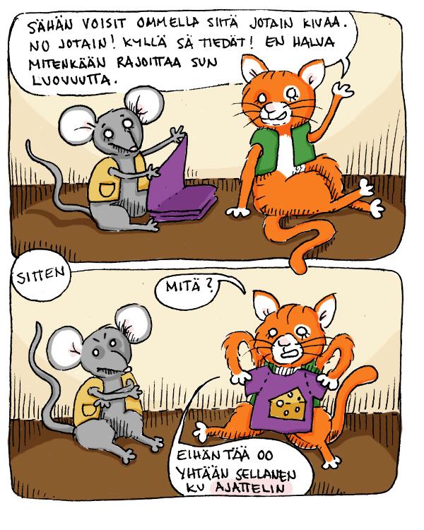 """Pimpelipompeli, hiiri se kissalle """"jotain kivaa"""" ompeli"""